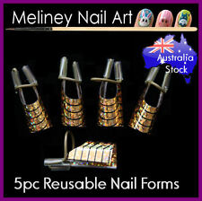 5pc Reusable nail forms Gold Nail Art Acrylic Tips Builder Manicure Tool