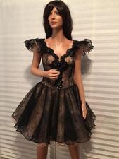 Amazing VICKY TIEL Couture Paris Black Princess Corsett Lace Tulle Dress sz 2-4