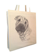 Shar Pei (c) Cotton Shopping Bag with Gusset for Xtra Space Perfect Gift