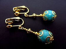 A PAIR GOLD PLATED  DANGLY  TURQUOISE BEAD CLIP ON  EARRINGS. NEW.