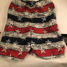 Columbia Swimsuit Boys Small Red White Blue Stars