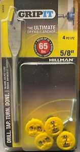 """Hillman GripIt the Ultimate Drywall Anchor 5/8"""" w / drill bit. NEW (holds 65#)"""
