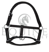Deluxe Padded Leather Headcollar with Diamante Detail - Black/Brown - All Sizes