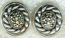 "925 Sterling Silver Oval Marcasite Stud Earrings   Length 5/8"""