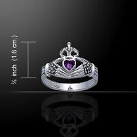 Irish Claddagh Marcasite and Gemstone .925 Sterling Silver Ring by Peter Stone