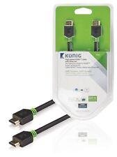 KONIG ad alta velocità HDMI cavo con Ethernet da HDMI a HDMI Connettore 3 M Grigio