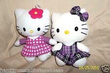 "6"" Sanrio Hello Kitty Plush Lot x2 Ty Purple Dress 2011 Fiesta Pink Flower 2013"