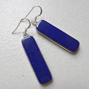 925 Sterling Silver Lapis Lazuli Long Drop Dangle Earrings December Birthstone