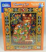"""White Mountain Puzzles """"Tapestry Cat"""" (#402) 1000 Larger Pieces Puzzle - New"""