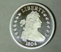 1 oz .999 Fine Silver Round 1804 Bust Dollar Design Style Proof Strike (pk.rm)