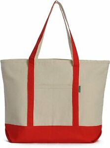 Heavy Duty Cotton Canvas Tote Bag  for Grocery, Shopping, ZIPPER Washable