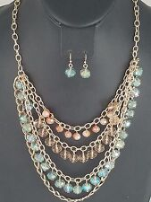 Gold and Multi Colored Acrylic Beaded FASHION Necklace Set