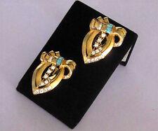 Art Deco Duette Dress Clips Gold Plated Sterling Aqua Baguette Rhinestone