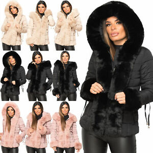 Womens Quilted Padded Bubble Fur Collar Hooded Thick Puffer Winter Coat Jacket