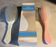 "Vintage 8"" AVON Logo Pink Flair + Past & Present Hair Brush Set Nylon Bristles"