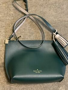 Genuine Kate Spade New York Green Grey Bag & Tassel Adjustable Strap Medium