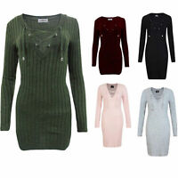 Women Long Sleeve Knitted Jumper Sweater Tops Pullover Bodycon Tunic Mini Dress
