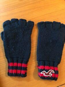 Men's black and red fingerless Hollister gloves