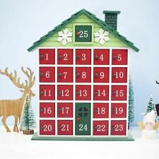 Wooden Advent Calendar Countdown Cottage Storage Box Christmas Holiday Accessory