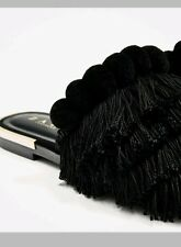 zara black flat slides with tassel size 6