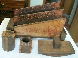 Antique Vintage Carved Burnt Wood Writing Set Desk Box