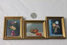 3 Miniature Still Life Oil Paintings Vintage Mid Century Art Flowers Vases Fruit