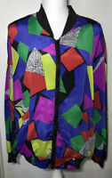 Vintage 80's Windbreaker Women's Bomber Jacket Multi Color Block Abstract Medium