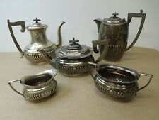 VINTAGE QUEEN ANNE SILVER PLATE TEA SET WITH HOT CHOCOLATE POT