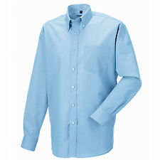 Russell Collection Long Sleeve Mens Oxford Workwear Office Smart Shirt 6 Colours