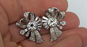 Estate Antique Art Deco Old European Cut 5.23CT Cubic Zirconia Silver Earrings