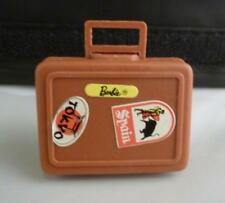 Vintage 1972 Busy Barbie Ken Doll Brown Plastic Suitcase Carry Case w/ Stickers