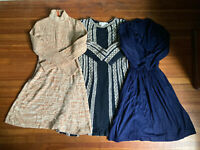 Vintage 1970s 3 Sweater Dress Lot Space Dye Lois Franklin Navy M