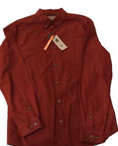 M&S Pure Cotton Oxford Shirt Medium Brick Red Long Sleeve