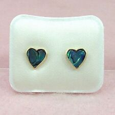 Paua Jewelry - Gold Plated Heart Stud Earrings (PE214)