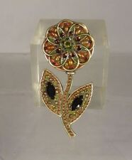 Antique Vintage Michal Golan Jeweled Pin Brooch Daisy Flower Costume Jewelry Sig