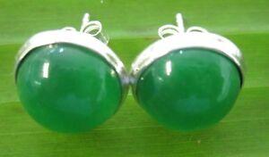"100% REAL 925 sterling silver 10mm HALF Ball ""JADE"" Studs Earrings - GIRL WOMEN"