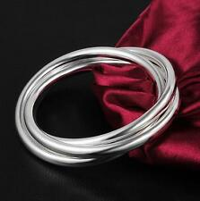 Stunning 925 Sterling Silver Classic Triple Infinity Hoop Circle Bangle Bracelet