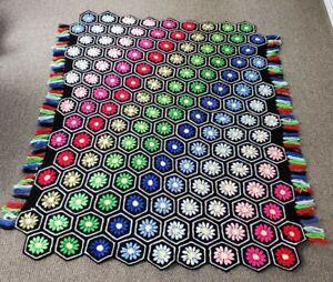 "VTG Granny Crochet Afghan Knit 3D Daisy Flower Hexagon Throw Blanket 76x60"""