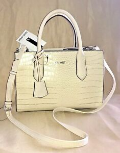 NINE WEST HANDBAG, BONE COLOR WITH REMOVABLE STRAP, BRAND NEW.