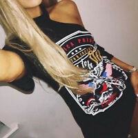 UK Women Ladies T Shirt Dress Short Sleeve Black Eagle Print Bodycon Mini Dress