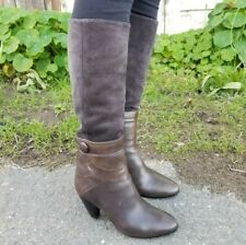 ALBERTO FERMANI size 6.5 brown leather & suede knee-high heeled boots