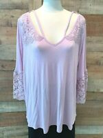 New~$46~RETROLOGY Women's 1X Plus Lilac-Purple 3/4-Sleeve Lace Top Shirt Blouse