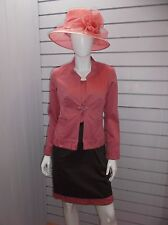 Divas, Size 10, two piece suit in Vermillion and Milk Chocolate.