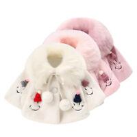 Winter Warm Cloak Fur Coat Toddler Newborn Baby Kids Girls Jacket Hooded Outwear
