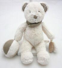 Nicotoy Doudou ours fourrure blanc et taupe  hochet activité 24 cm