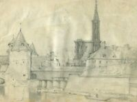 19th Vintage Pencil Drawing - Old Masters, Dessin Ancien - Landscape, City