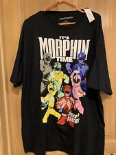 New listing Power Rangers Men's Short Sleeve Graphic Black T-Shirt Tee It's Morphin Time XXL