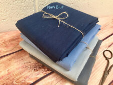 Soft Linen Fabric Material - upholstery curtains -140cm wide - Plain Navy Blue