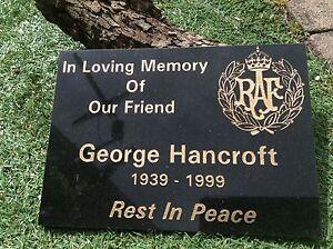 Personalised  Black Granite Memorial Plaque Grave Stone Marker Headstone 30x20cm