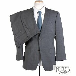 JOHN VARVATOS Suit 42R in Trout Gray Charcoal Graph Check Virgin Wool 2-Pc ITALY